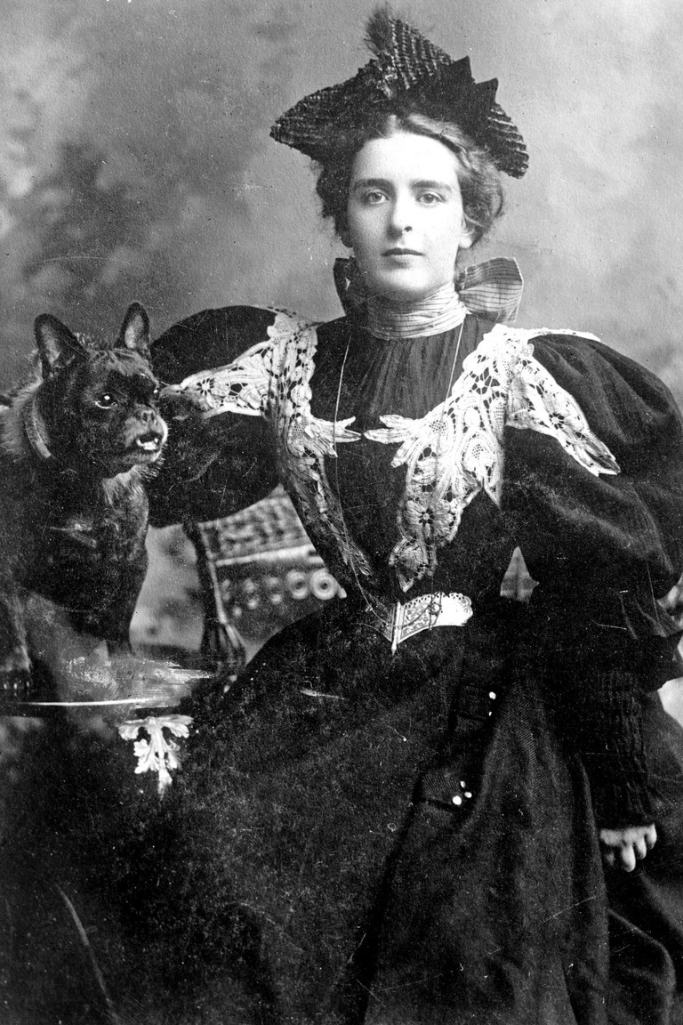 American author and poet Natalie Clifford Barney with her dog, 1910