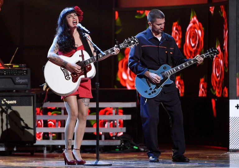 "Mon Laferte, left, and Juanes perform ""Si Tu me Quisieras"" at the 17th annual Latin Grammy Awards at the T-Mobile Arena, in Las Vegas 2016 Latin Grammy Awards."