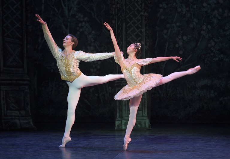 Joseph Caley and Shiori Kase dance as the Prince and the Sugar Plum Fairy
