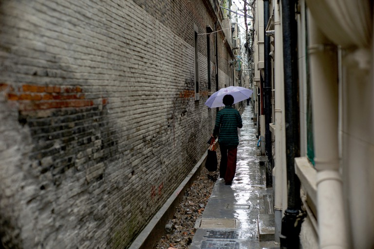 The old alley in the historic residential area in Xintiandi, Shanghai