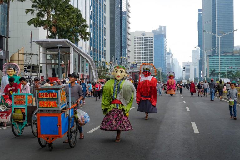 Car free day in Jakarta city