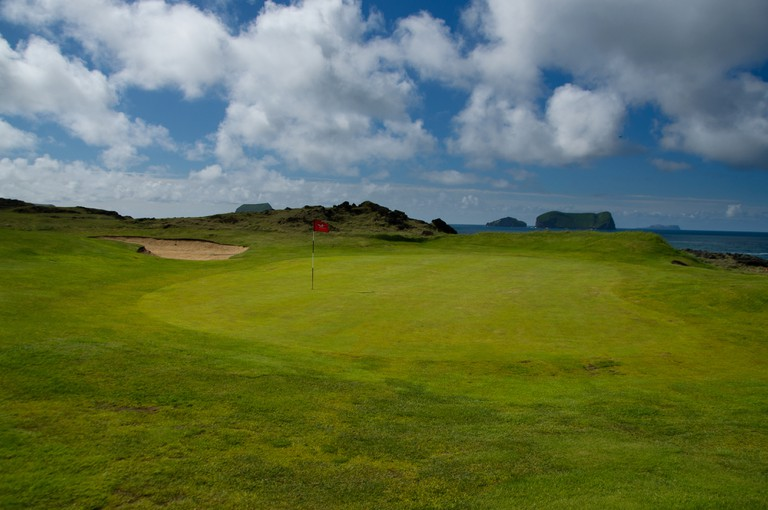 Golf course in Westman Islands, Iceland.