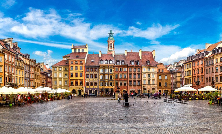 Old town square in Warsaw, Poland.