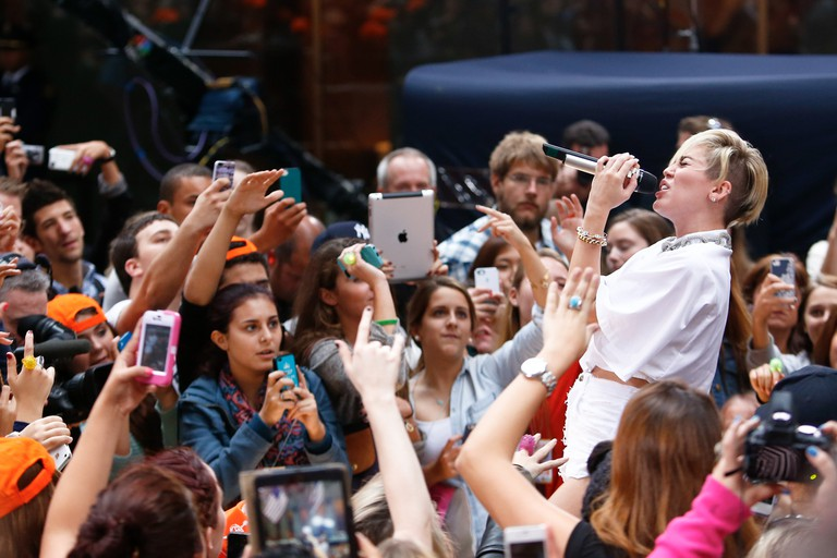 Miley Cyrus performs on NBC's 'Today Show' at Rockefeller Plaza on October 7, 2013 in New York City, USA.