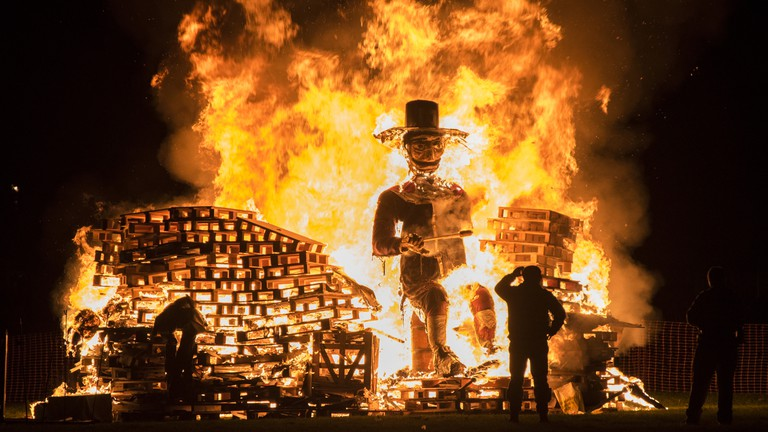 It is traditional to make a straw dummy of Fawkes to be placed atop the bonfire