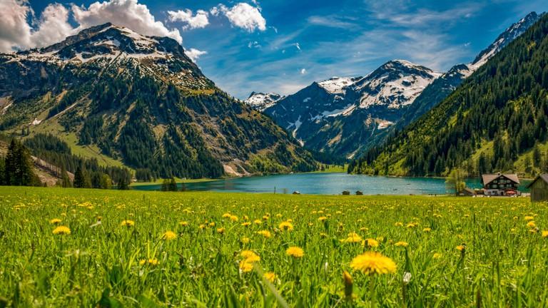 Vilsalpsee in spring, Tannheimer Tal Austria.