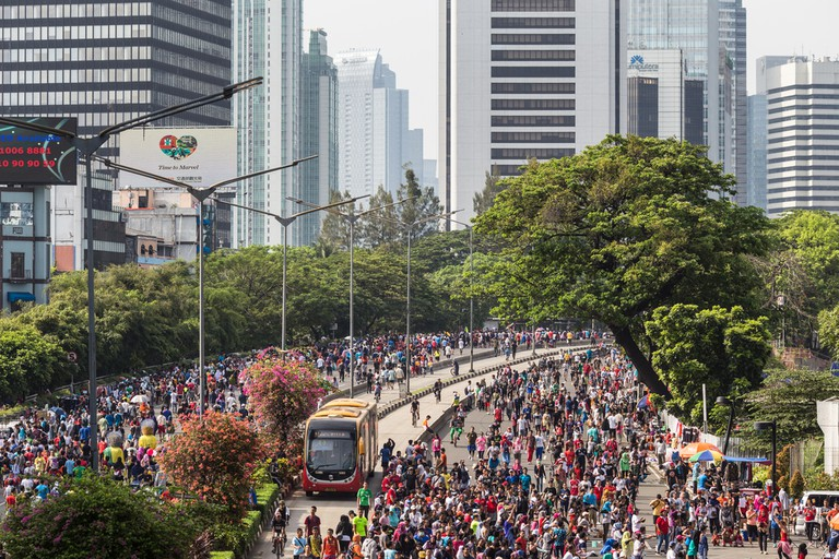 A huge crowd attends the car free day along Sudirman street in the heart of Jakarta business district