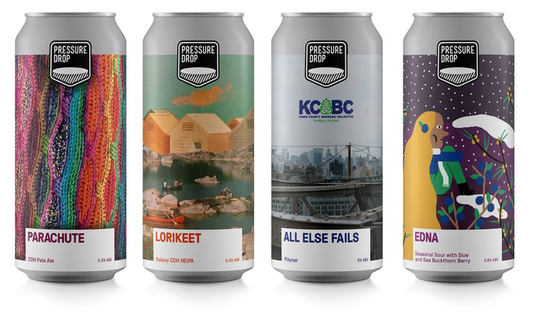 Cans from Pressure Drop Brewery sport illustrations by (left to right) Graham O'Brien, Dan Lean, Sienna O'Rourke and Lauren Humphreys