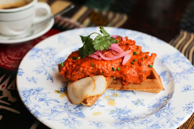 The delicious Hot Chicken & Waffle dish at Red Rooster