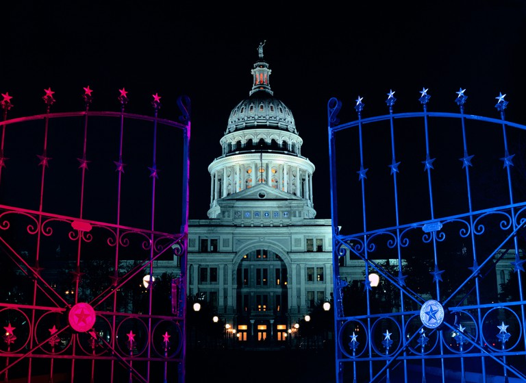 The Texas State Capitol Building at night