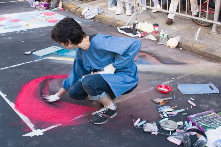 Street artist at the 50th Annual North Beach Festival in 2004 San Francisco California USA