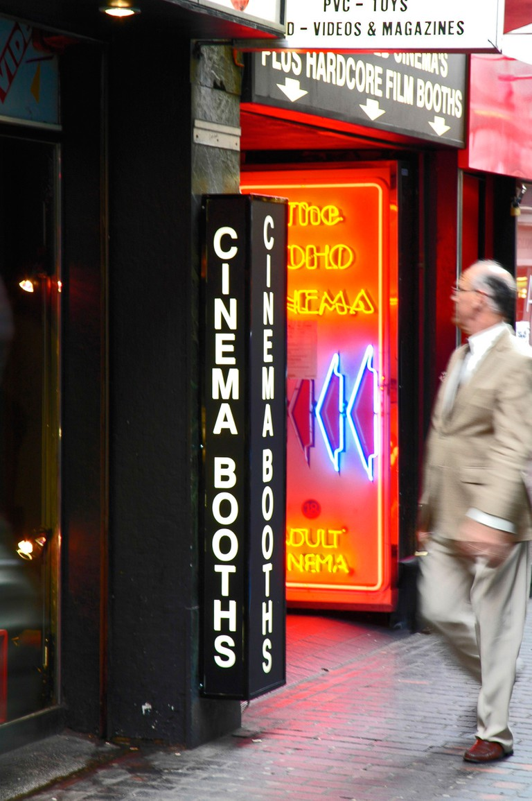 Anonymous man and Soho sex shop, London.. Image shot 2007. Exact date unknown.