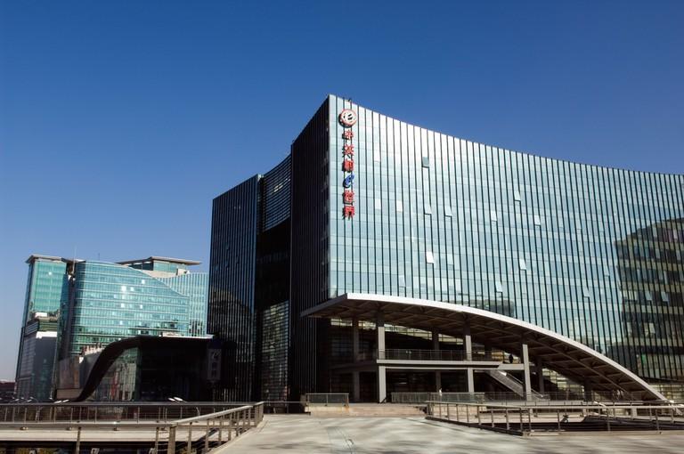 E plaza buildings in zhongguancun electronic shopping district, Beijing, China.