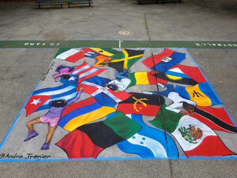 Rep Your Flag by Andre Trenier on view in Inwood Park, Bronx, USA.