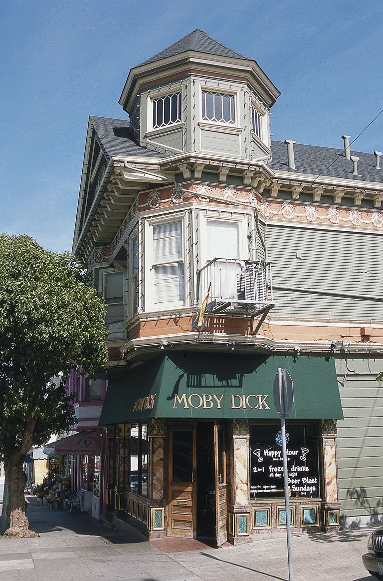 USA, California, San Francisco, Moby Dick, awning sign above entrance of old-time Castro hangout