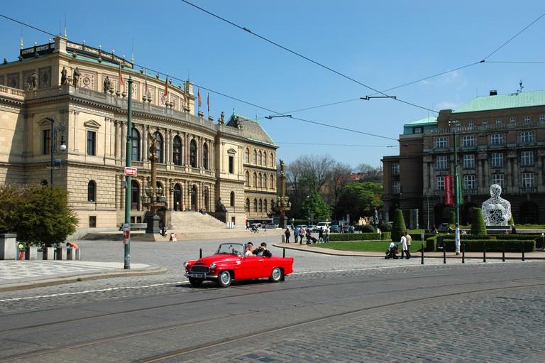 The Rudolfinium, concert hall of the Czech Philharmonic Orchestra, Josefov, Prague, Czech Republic cobble stones