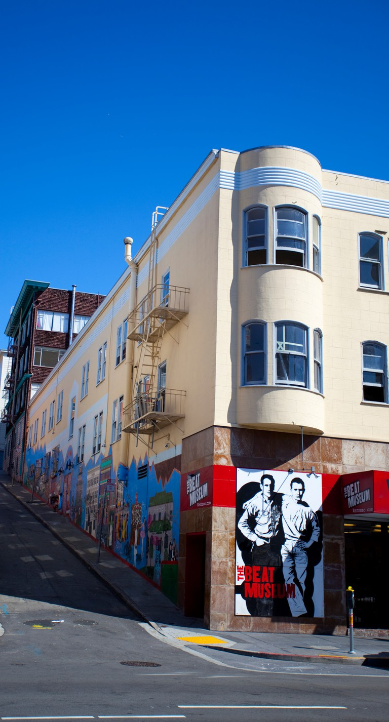 The Beat Museum, on the corner of Broadway and Romolo Pl, San Francisco, California, USA.