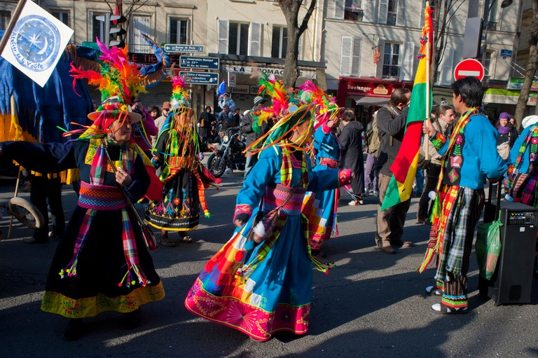 People in Costumes Marching in Carnaval de Paris