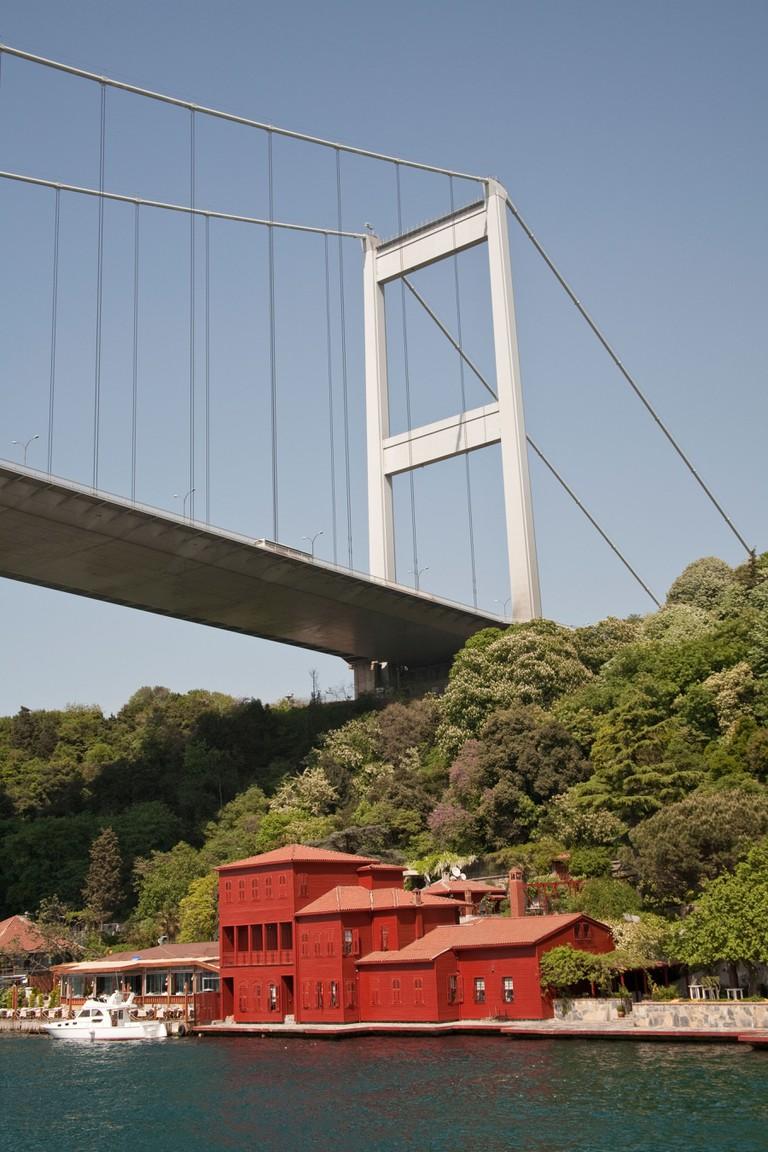 Fatih Sultan Mehmet Bridge, and Hekimbasi Salih Efendi Yali, beside the Bosphorus, Istanbul, Turkey