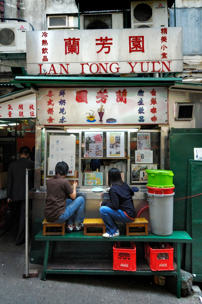 Lan Fong Yuen, a more than 50-year old food stall in Gage Street which is famous for its milk tea in Hong Kong style.