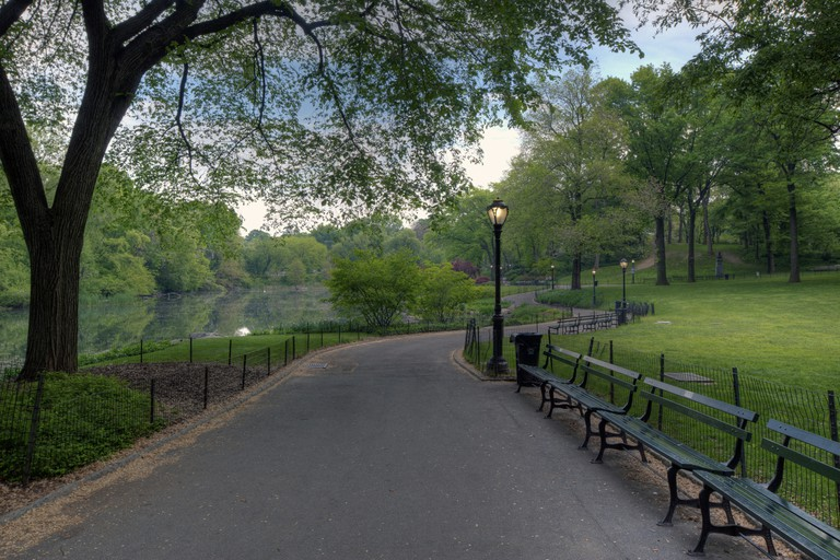 Early morning on the sidewalk in Central Park, New York, USA.