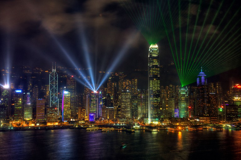The view of Hong Kong island from Victoria Harbour harbor  the best place for the symphony of lights laser show. Image shot 10/2010. Exact date unknown.