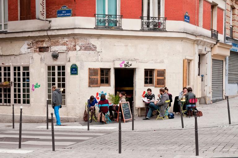 Cafe-Restaurant in the neighborhood of Belleville Menilmontant, Paris, France