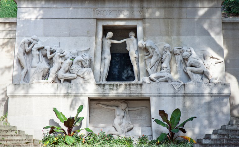 The monument 'Aux Morts' in Pere Lachaise cemetery, Paris, France.