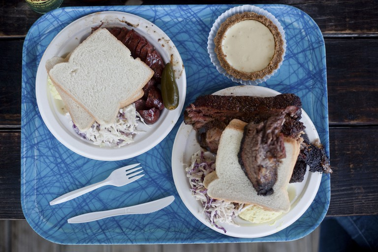 Tuck into brisket, pork ribs, sausage and pie at Franklin BBQ