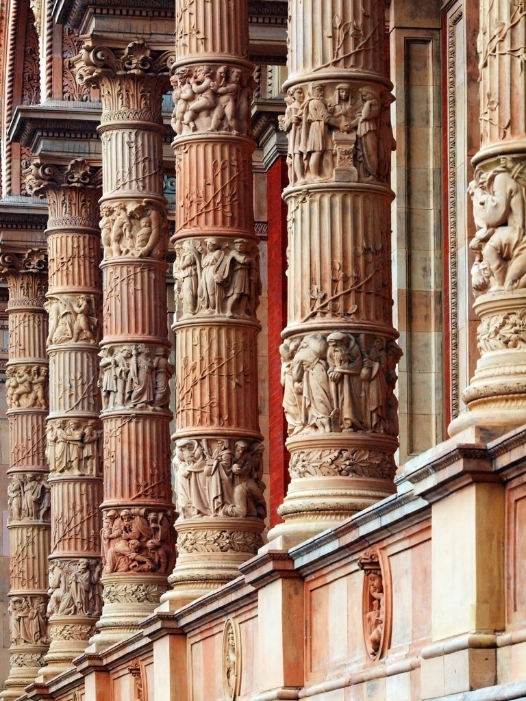 Decorative columns at London's Victoria & Albert Museum.