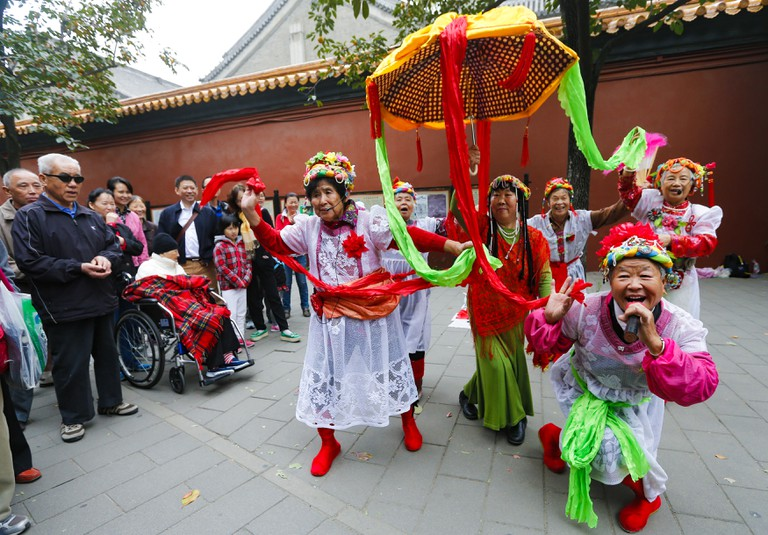 China Marks Double Ninth (chongyang) Festival and Seniors' Day on 13 October Which is the Ninth Day of the Ninth Month of the Chinese Lunar Calendar While the Day is Observed in Honor of Elders Citizens Also Traditionally Go to High Places in a Symbolic Act to Keep Away From Harm