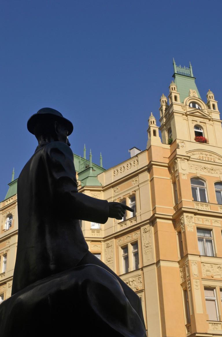 Franz Kafka statue, Josefov Jewish Quarter, Prague, Czech Republic