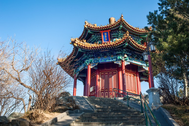 A pavilion located on the hill of Jingshan park, Beijing.