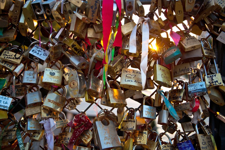 'Love Locks' on the Pont Des Arts Bridge, Paris