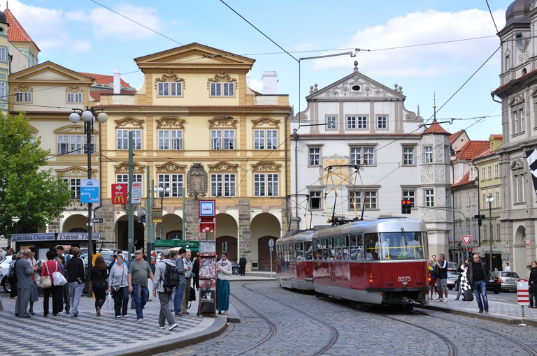 Electric Tram in Hradcany, Prague, Czech Republic.