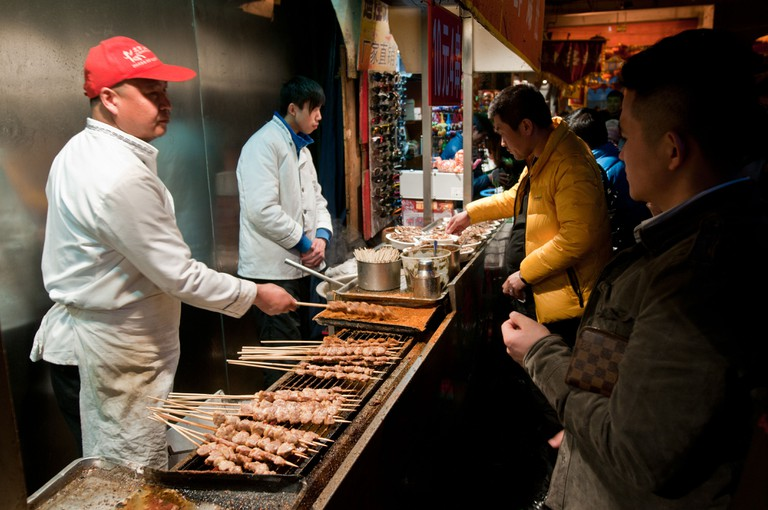 Chuanr at a food stall in Beijing, China.
