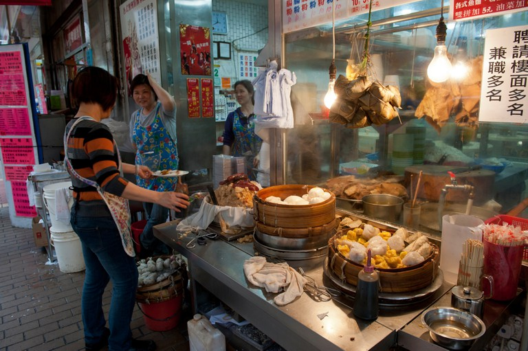 Road side Chinese Dumpling Restaurant near the Ladies Market Area, Tung Choi Street, Mong Kok, Kowloon.