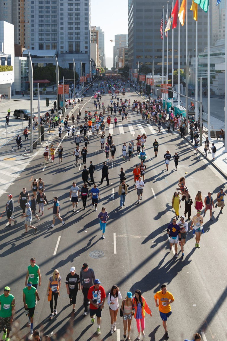Bay to Breakers race in San Francisco takes place annually on the third Sunday in May and is one of the largest in the world.