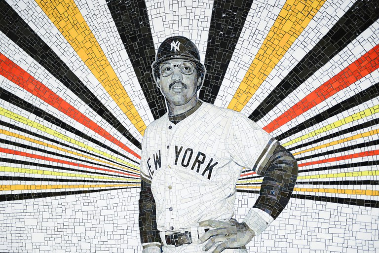 167th Street subway station in the Bronx. Reggie Jackson. Art work © Rico Gatson