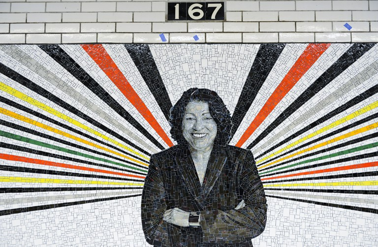 167th Street subway station in the Bronx. Sonia Sotomayor. Art work © Rico Gatson