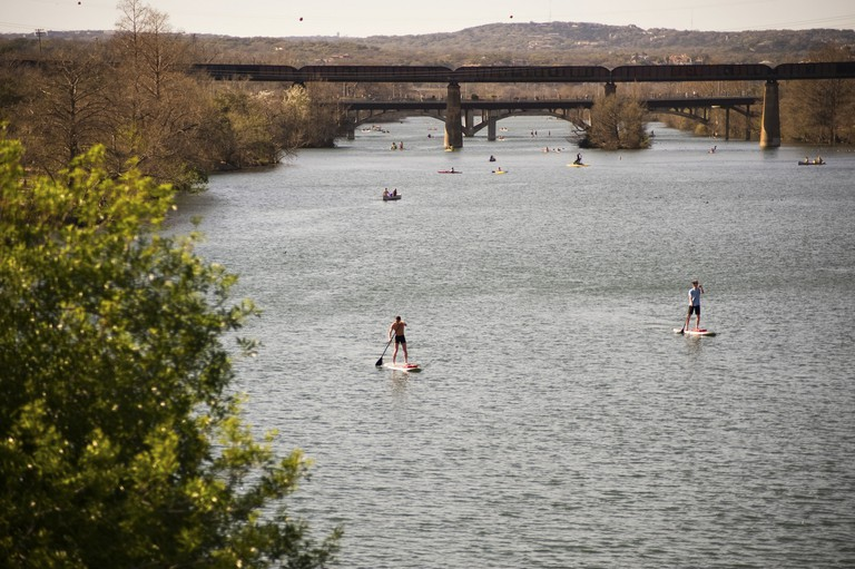 Stand up paddle on Lady Bird Lake, Austin, Texas.
