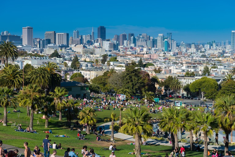 San Francisco skyline from Mission Dolores Park.