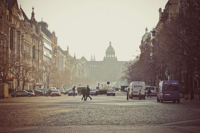 Prague, Wenceslas square, morning