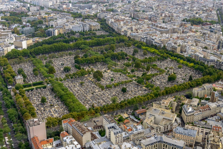 Aerial view of Pere Lachaise cemetery taken from Montparnasse Tower in Paris, France.