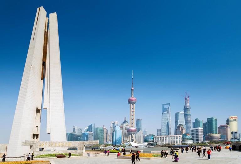 Pudong skyline and monument in Shanghai