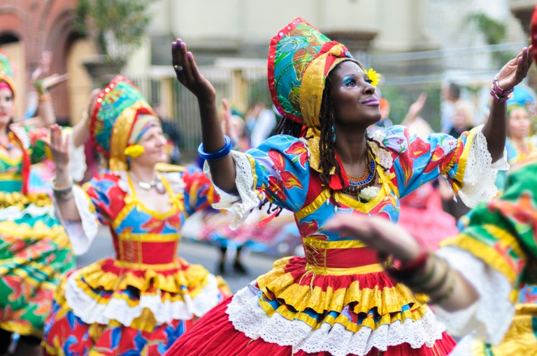 Notting Hill Carnival 2014, Children's day on Sunday. Members of group dance Maracatudo Mafua