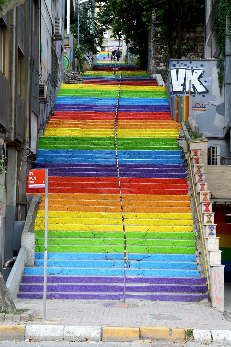 City Stair Painted with Rainbow Colors