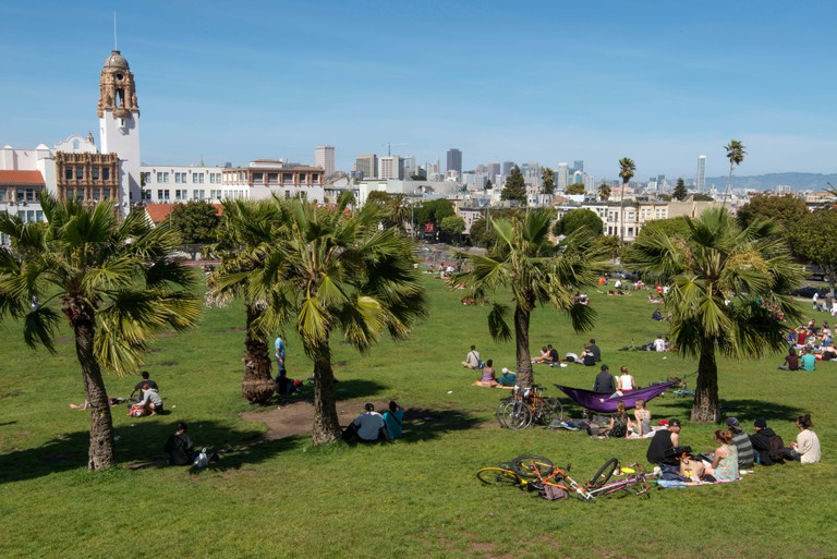 Sunny sunday, Dolores Park in Mission District, San Francisco