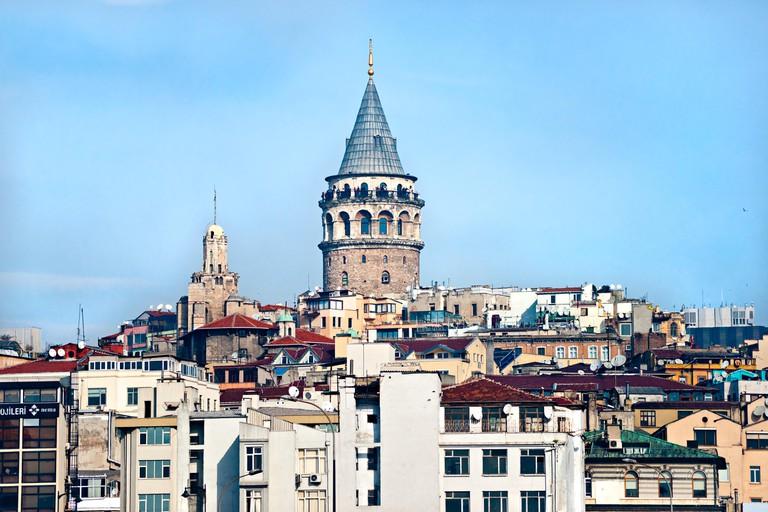 Galata tower in beyoglu, Istanbul, Turkey.