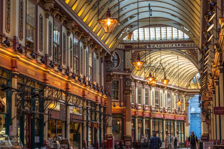 Leadenhall Market, in central London.Under the Victorian roof are various shops, stalls and restaurants - EDITORIAL USE ONLY